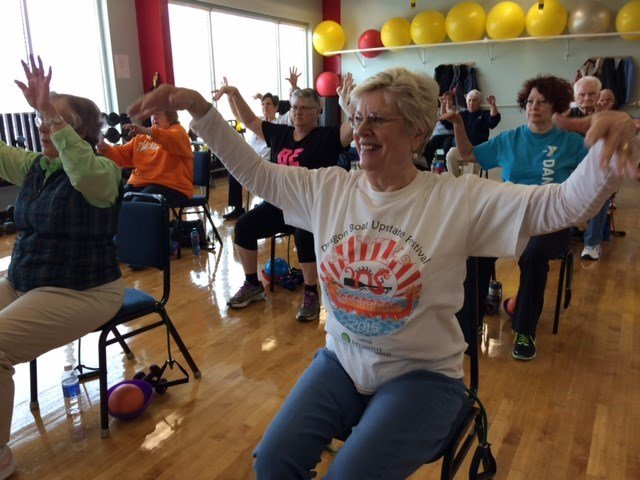 Mary Ann Brown exercises with a group at the Thiesen YMCA in  Travelers Rest (FOX Carolina)
