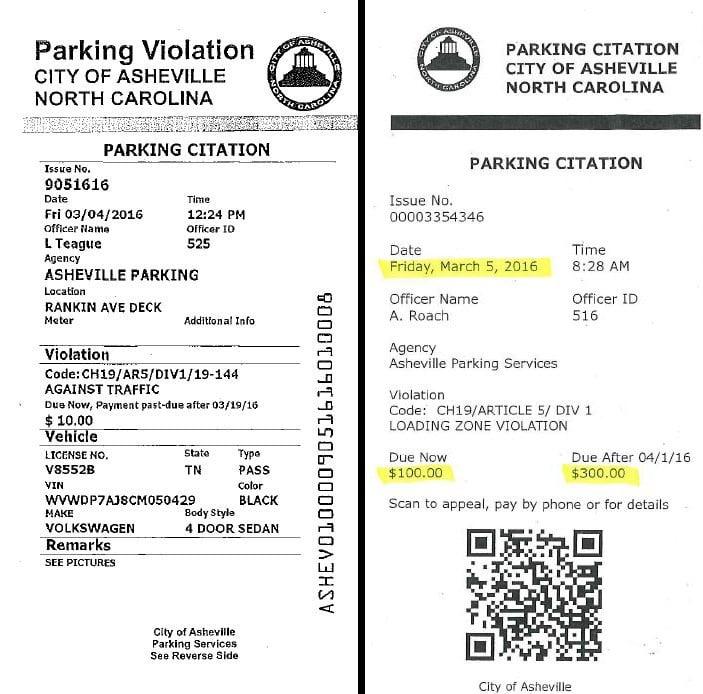 Fake parking tickets popping up in asheville fox carolina 21 an authentic asheville parking ticket left beside a bogus ticket right altavistaventures Images