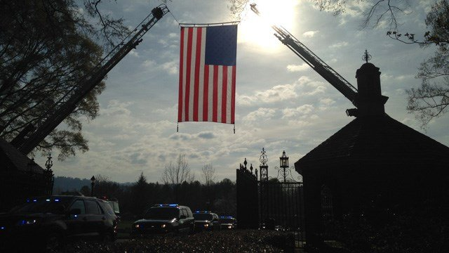 Area fire departments raised flags to honor Jacobs. (Mar. 24, 2016/FOX Carolina)