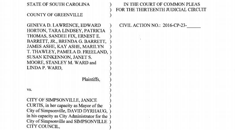 Cover page of Simpsonville lawsuit (Provided)