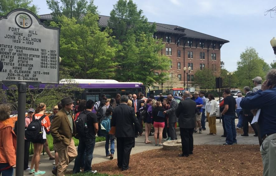Students gather at Fort Hill ahead of Wednesday's march (FOX Carolina/ April 13, 2016)
