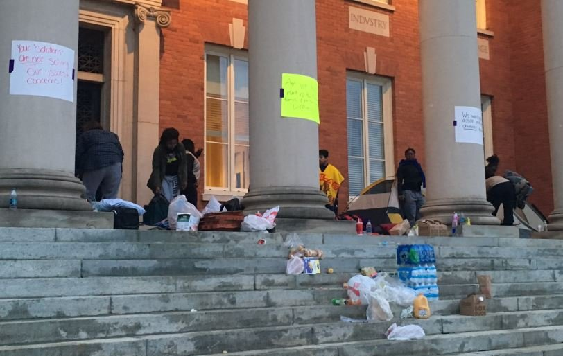 Protesters waking up Thursday after camping outside Sikes Hall (FOX Carolina/ April 14, 2016)