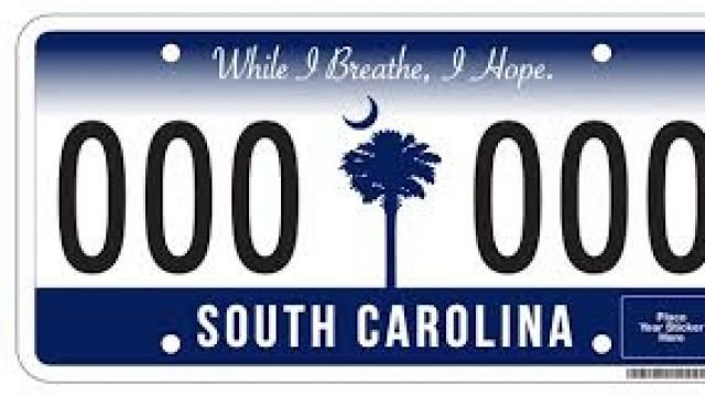 News sc license plate displays one registration sticker for South carolina department of motor vehicles charleston sc