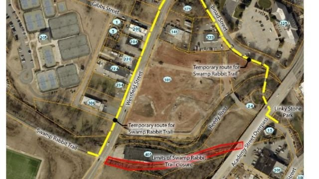 parts of swamp rabbit trail closed due to construction fox carolina 21. Black Bedroom Furniture Sets. Home Design Ideas