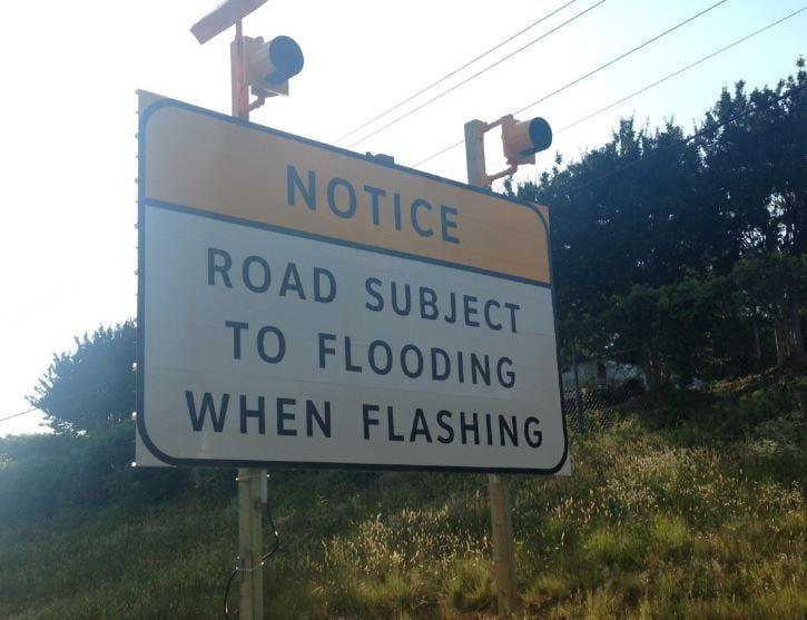 SCDOT flooding sign. (Source: Fox Carolina)