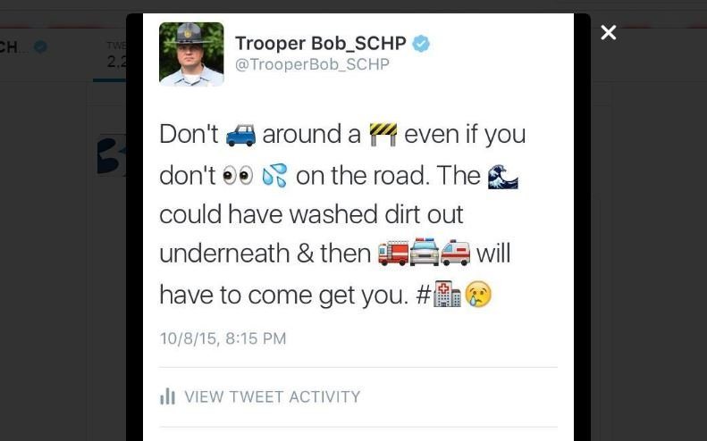 Trooper Bob Bere's message to Columbia residents during the flooding prompted use of emojis among Highway Patrol (Twitter)