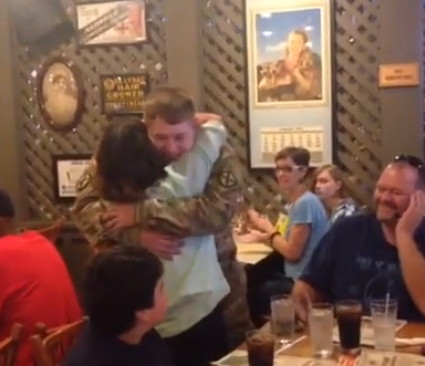 U.S. Army solider Jake Trotter surprises his mom at Upstate restaurant. (FOX Carolina/July 2, 2016)