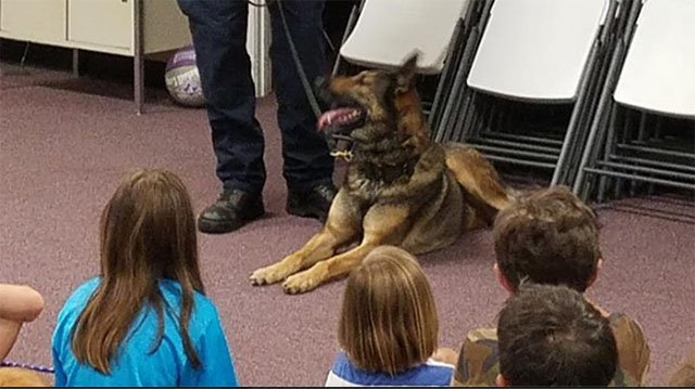 Upstate kids learning about the role of K9 police dogs. (Source: Greenville PD)