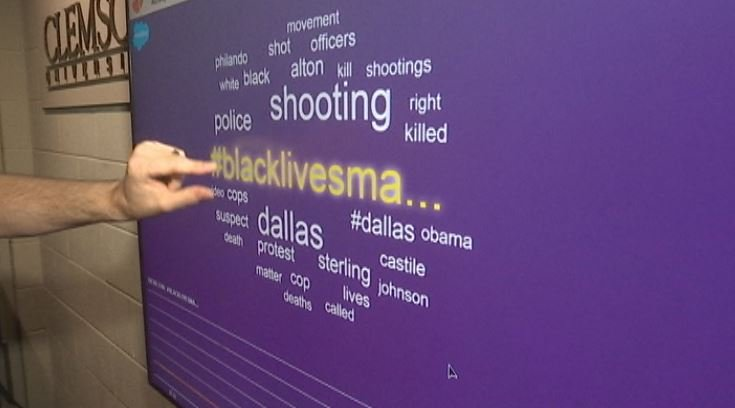 Clemson's Social Media Listening Center shows trending topics of the day after the Dallas shooting (FOX Carolina)
