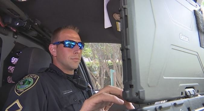 Officer Ben Tice, while patrolling Travelers Rest, says recent police shootings have him more aware of his surroundings than ever (FOX Carolina)