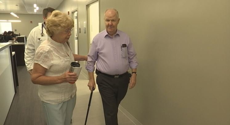James Ramsay, right, walks with his wife at Bon Secours St. Francis' Millenium Campus (FOX Carolina)
