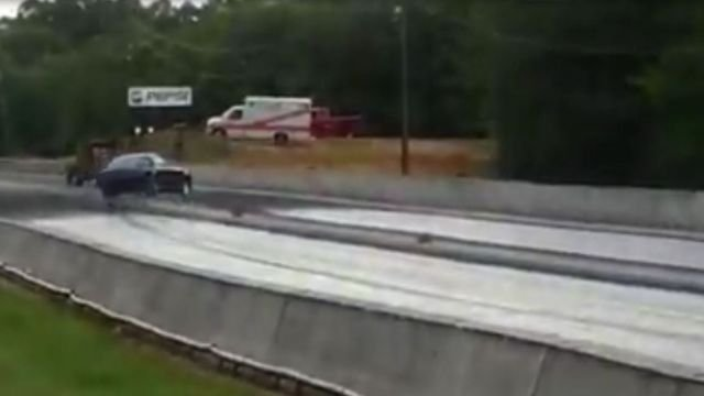 The car involved in the crash Ware Shoals Dragway as it is about to crash (Source: FOX Carolina viewer)