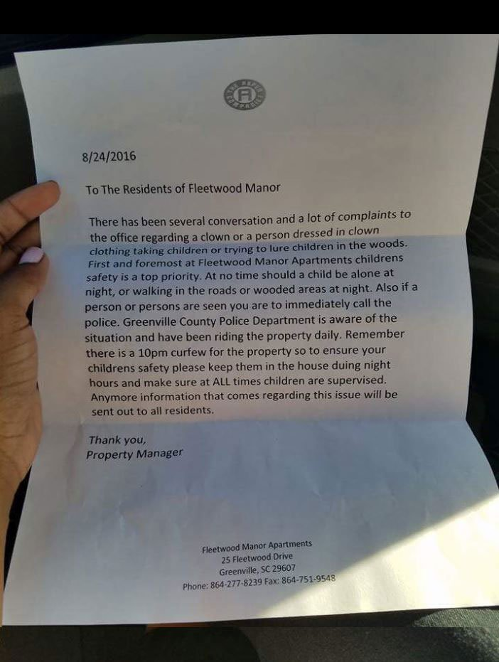 The letter reportedly given to Fleetwood Manor residents. (Source: Facebook)