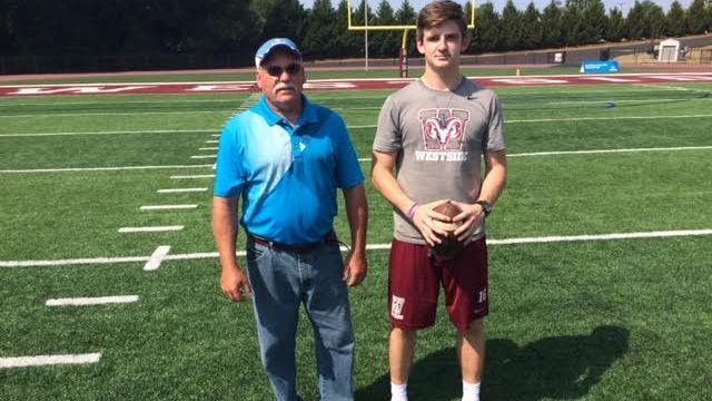 Kenny Gordon, kicking coach, with Chance Poore, Westside High School kicker. (FOX Carolina/ Sept. 9, 2016)