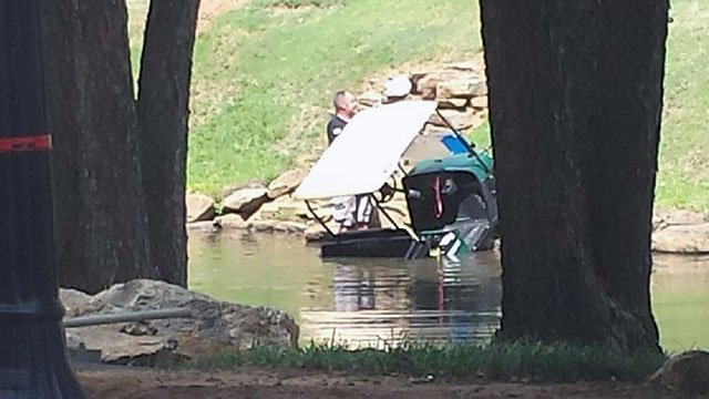 Golf cart in the river in downtown Greenville. (Sep. 23, 2016/FOX Carolina)