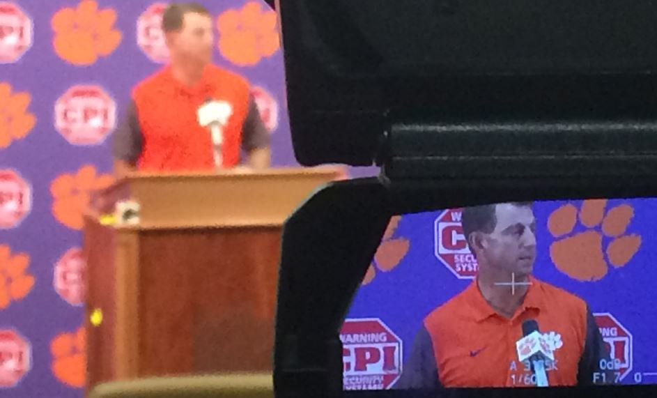 Dabo addresses the media on Sep. 27, 2016 (FOX Carolina)