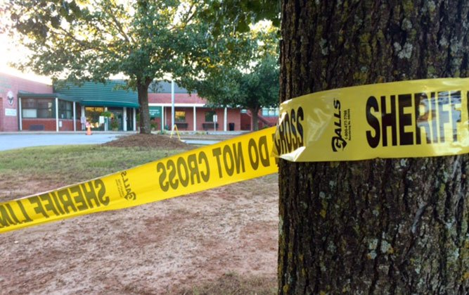 Crime scene tape at Townville Elementary (file/FOX Carolina)