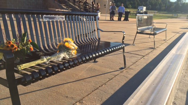 A bench was dedicated before Saturday night's soccer game in memory of a student athlete killed in a car crash that claimed the lives of three other students and seriously injured another.  (FOX Carolina/ 10/1/16)