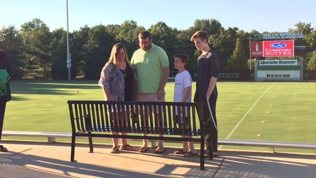 A bench wasdedicated before Saturday night's soccer game in memory of a student athlete killed in a car crash that claimed the lives of three other students and seriously injured another. (FOX Carolina/ 10/1/16)