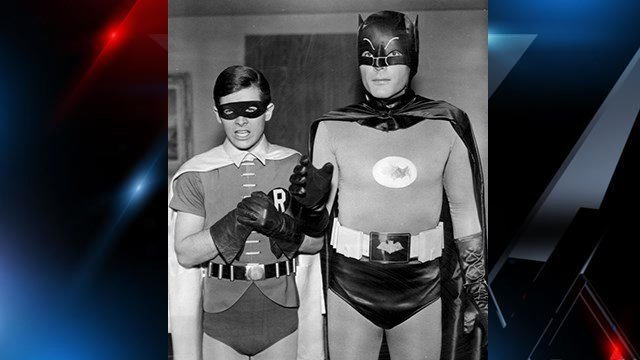 Adam West as Batman (right) and Burt Ward as Robin in the 1960s Batman TV series (Source: Wikipedia)