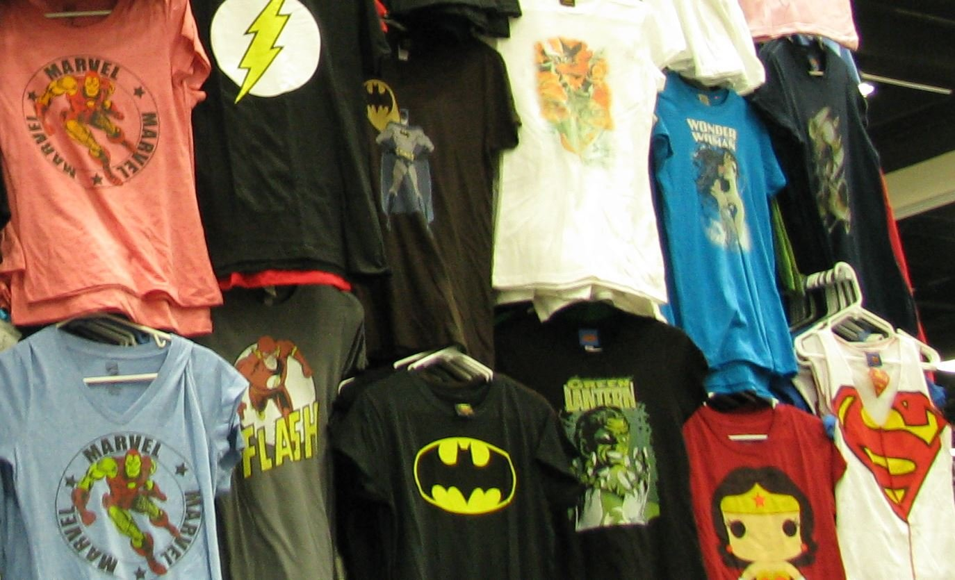 Superhero t-shirts at a Comic Convention (Courrtesy: Wikimedia Commons)