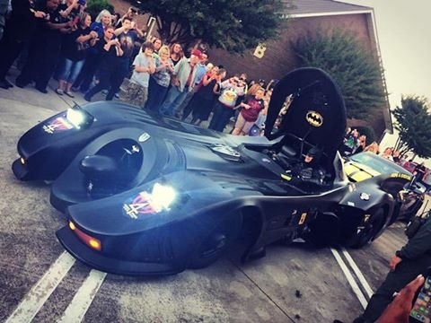 Batman arrives at Jacob's visitation. (Oct. 4, 2016/FOX Carolina)