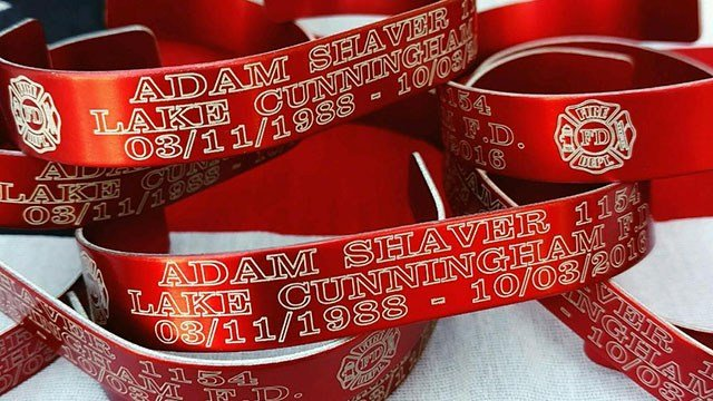Lake Cunningham Fire Department made bracelets in honor of late fellow firefighter Adam Cory Shaver. They were sold and proceeds were given to Shaver's family in his passing. (FOX Carolina/ 10/6/16)