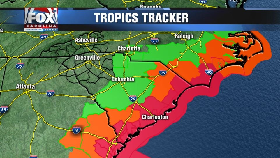 Red = hurricane warning; Orange = tropical storm warning; Green = flash flood warning