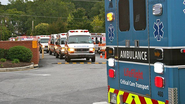 17 patients were evacuated from Beaufort Memorial Hospital to AnMed Health by EMS workers in a caravan of ambulances. (Source: AnMed Health)