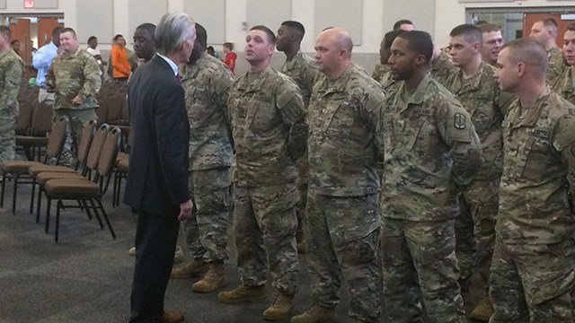 Representative Trey Gowdy addressing troops. (October 8, 2016 FOX Carolina)