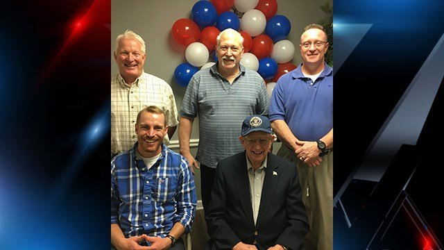 Greenville WWII vet Myles Isbell (bottom right) celebrates 90th birthday. Here, he is pictured with his three sons Dave, Rob and Tom Isbell (back row from left), and his grandson Stephen Isbell (front row). (Source: Family)