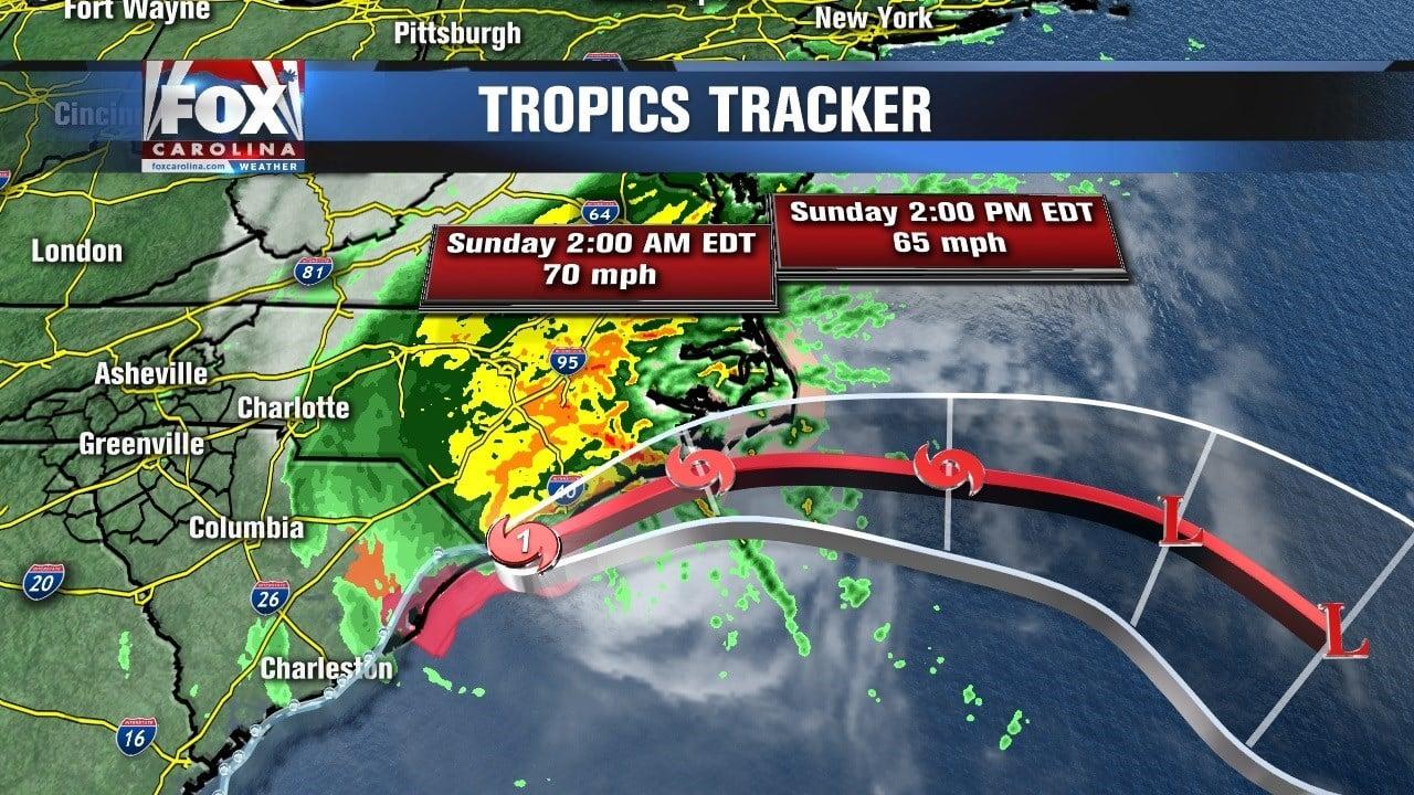Hurricane Matthew travels up the eastern U.S. coast.