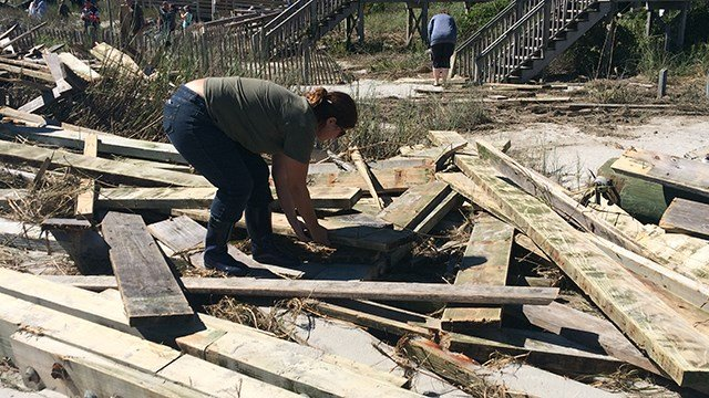 Residents are cleaning up after Surfside Pier in Myrtle Beach is heavily damaged by Hurricane Matthew. (October 9, 2016 FOX Carolina)
