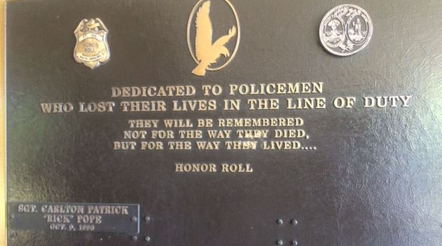 Pope's name on fallen officer's memorial at Fountain Inn police department (FOX Carolina)