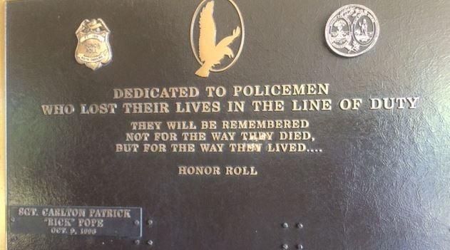 Pope's name on fallen officer's memorial at Fountain Inn police department (FOX Carolina)