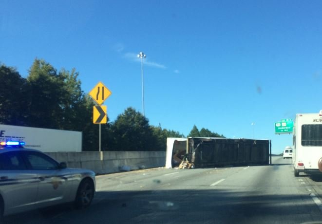 Overturned camper on I-85 (FOX Carolina)