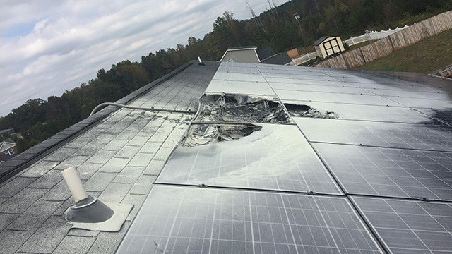 Solar panels burning on top of building in Spartanburg Co. (Source: Tyger River Fire Chief)