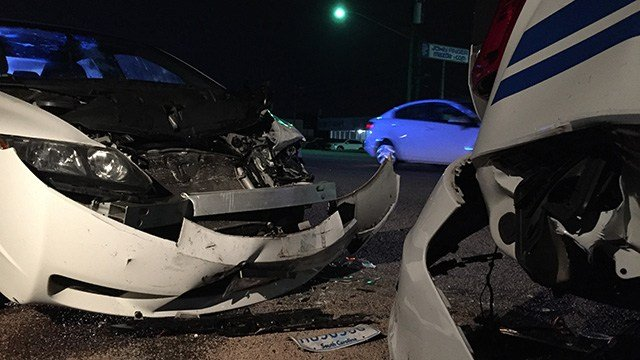 Greenville police say an officer's patrol car was rear-ended Sunday morning (October 16, 2016 FOX Carolina).