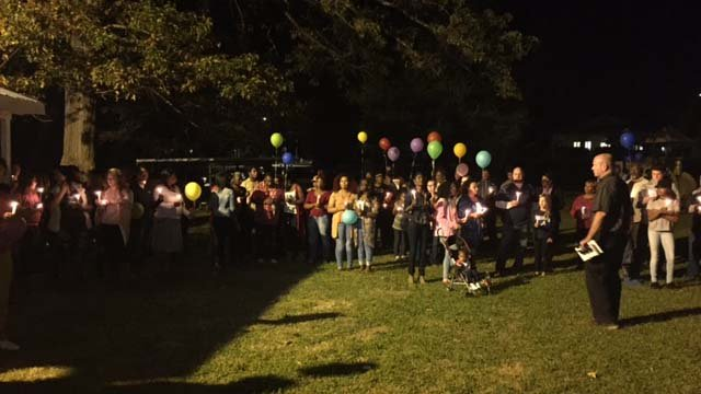A candlelight vigil was held for Brannon Sunday night. (FOX Carolina/10/16/16)
