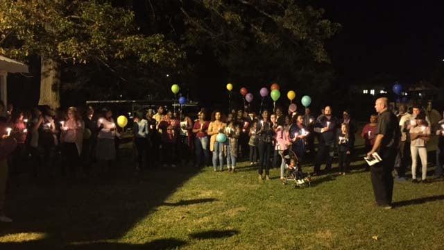 A candlelight vigil was held for Brannon Sunday night. (FOX Carolina/10/16/16)