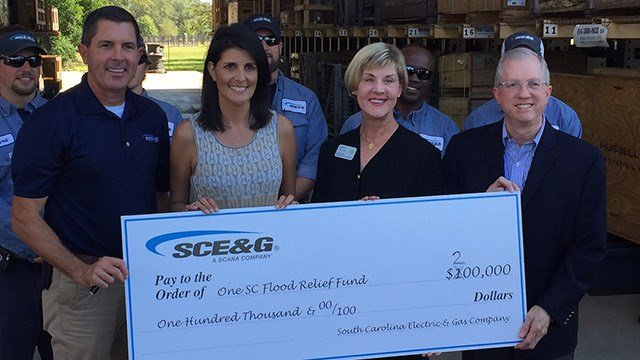 SCE&G doubles original flood relief donation from $100,000 to $200,000. (October 17, 2016 FOX Carolina)