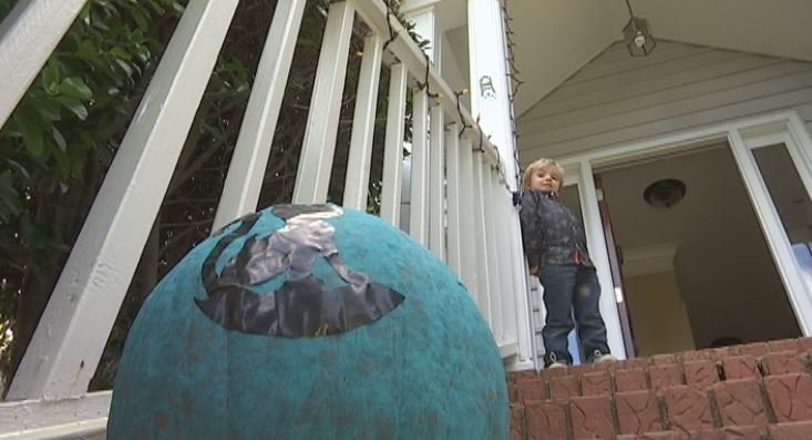 Piersen Dowd, 4, suffers from food allergies. His teal pumpkin helps raise awareness about the problem. (FOX Carolina)