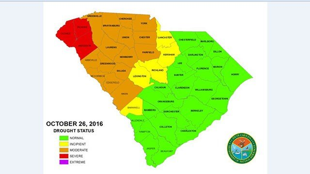 Map of drought status in SC counties. (Source: SCDNR)