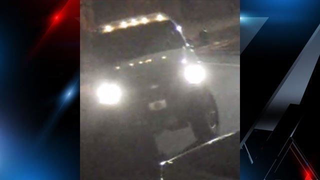 Two male suspects were seen fleeing the scene in a large white pickup truck with an extended cab. (Source: GPD)