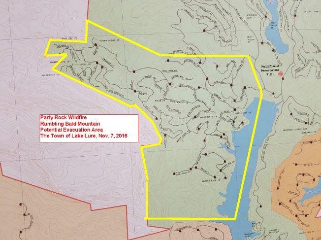 Possible evacuation area (Source: Lake Lure FD)