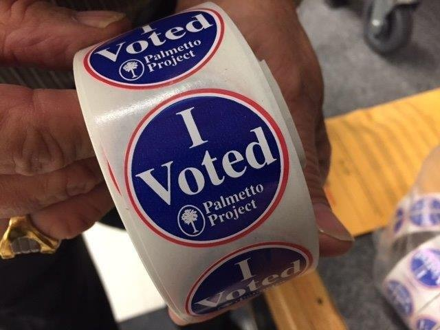 """I Voted"" stickers on Election Day. (Nov. 8, 2016/FOX Carolina)"
