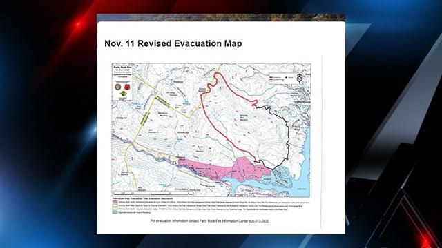 November 11 evacuation map ( Source: Lake Lure website)