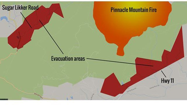 Pinnacle Mountain fire prompts evacuation call in Pickens. Source: SC Forestry Commission)