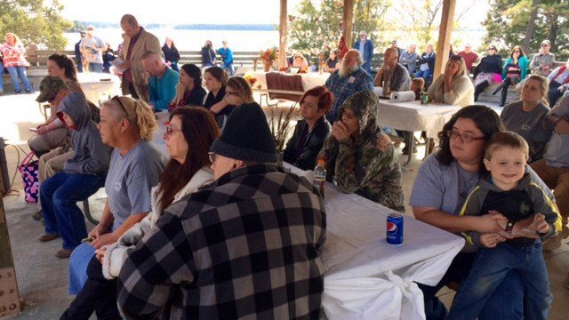 Loved ones gather at Lake Russel. (November 12, 2016 FOX Carolina)