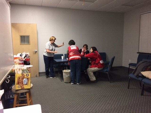 Red Cross members at East Pickens Baptist Church. (November 12, 2016 FOX Carolina)